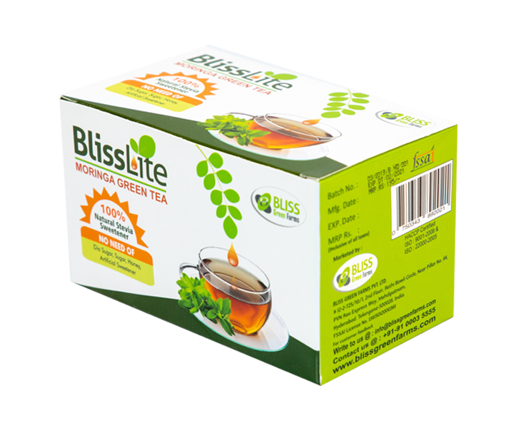 Bliss Lite Moringa Green Tea(plain flavor) with Stevia as a Natural Sweetner- 5 Dip Bags