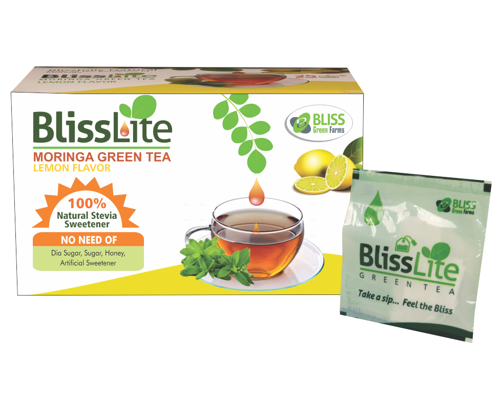 Bliss Lite Moringa Green Tea(Lemon Flavor) with Stevia  as a Natural Sweetner- 25 Dip bags